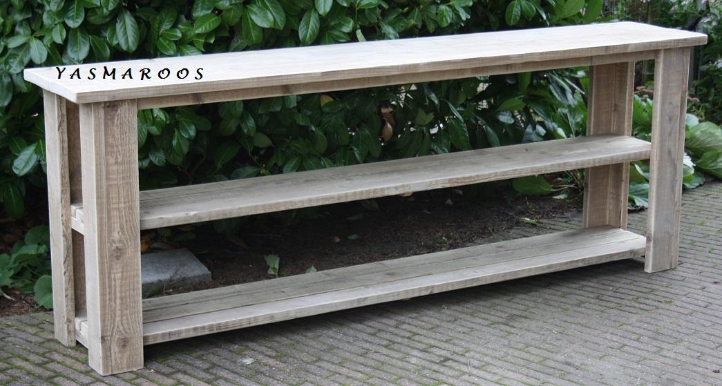 Sidetable Oud Steigerhout.Sidetable Dubbele Onderplank